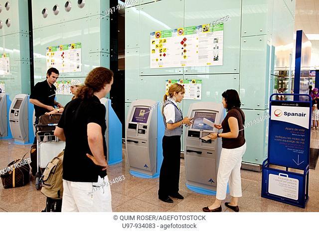 Barcelona's new airport terminal T1 El Prat de Llobregat, Barcelona, Catalonia, Spain