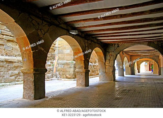arcades of the porticoed square, Linyola, Lleida, Catalonia, Spain