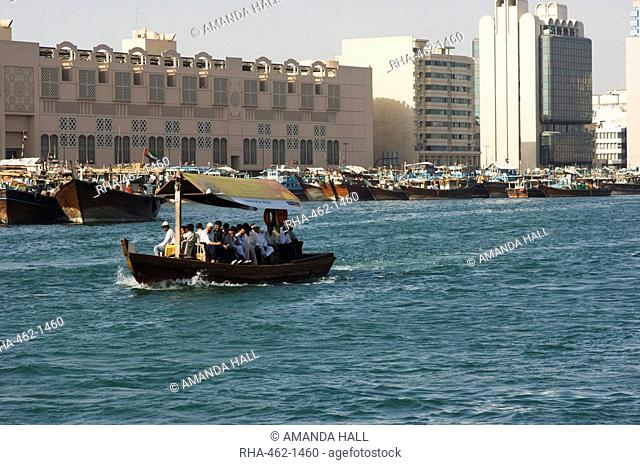 An abra ferry crossing Dubai Creek, Dubai, United Arab Emirates, Middle East