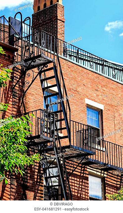 Fire Escape up Classic Old Architecture in Boston Massachussets
