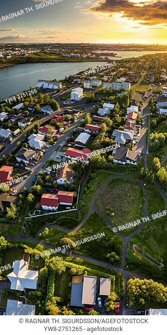 Grafarvogur, a suburb in Reykjavik, Iceland. This image is shot using a drone