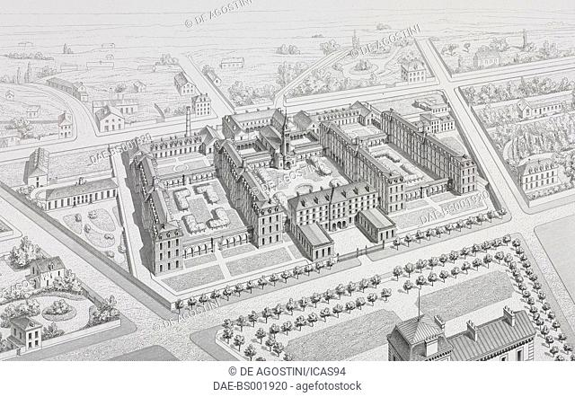 Bird's-eye view of the Hopital de Menilmontant (Hopital Tenon) in Paris, designed by Marie-Etienne Billon, France, engraving by Boisset after a drawing by...