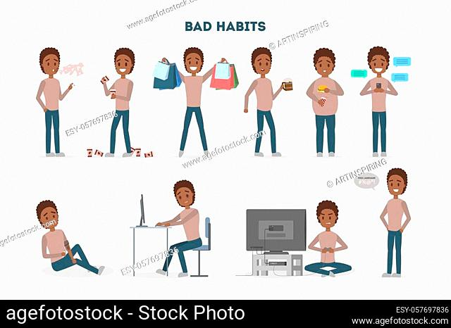 Man with a bad habits set. Alcohol and coffee addiction, eating junk food and gambling. Unhealthy lifestyle and danger for life