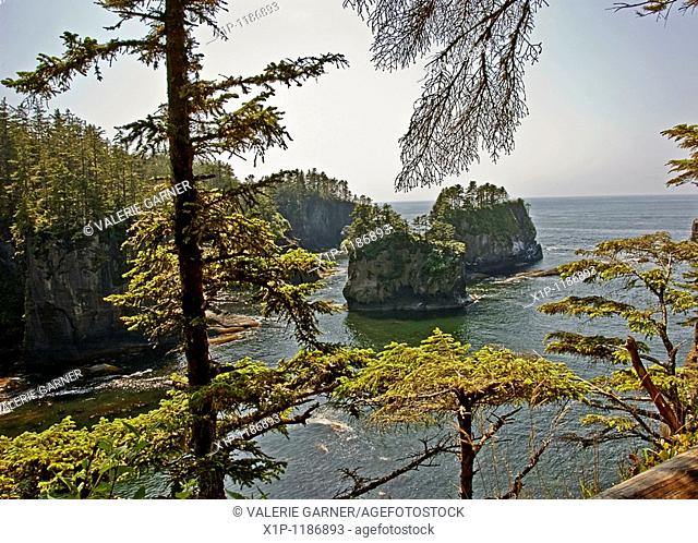 This ocean scenic is of beautiful Cape Flattery, Washington, the Northern Western most point of the United States Rocky crags, small islands