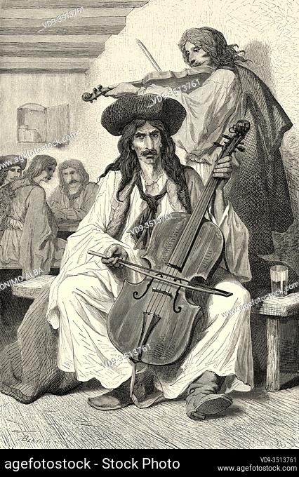 Gypsy musican playing traditional music songs, Hungary. Europe, Old engraving illustration Trip land of southern Slavs by M. Perrot