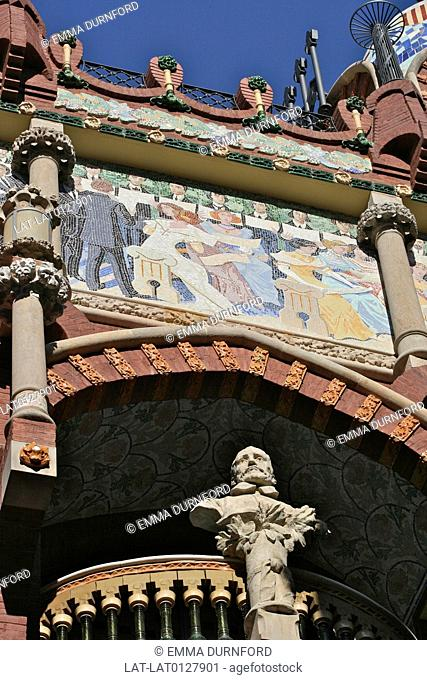 Detail of the roof of the Palau de la Musica,a modernista building designed by Domenech i Montaner in 1908 for the Orfeo Catala choral group