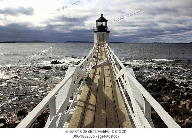 Marshall Point Light Station was established in 1832 to assist boats entering and leaving Port Clyde Harbor  The original lighthouse was a 20-foot 6 1 m tower...