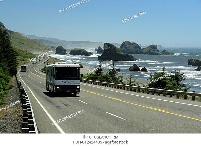 OR, Oregon, Pacific Ocean, Pacific Coast Scenic Byway, Rt Route, Highway 101, Cape Sebastian State Scenic Corridor, Viewpoint