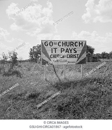Religious Road Sign, Georgia, USA, Dorothea Lange for Farm Security Administration, June 1937