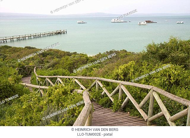 Boardwalk to jetty, West Coast National Park, Western Cape Province, South Africa
