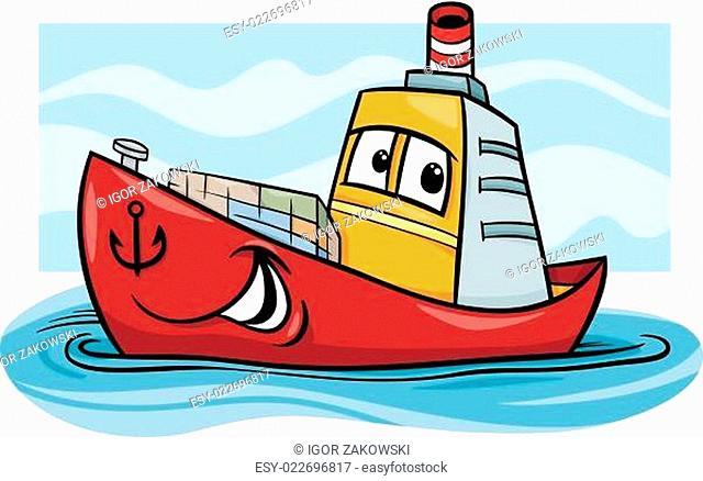 container ship cartoon illustration