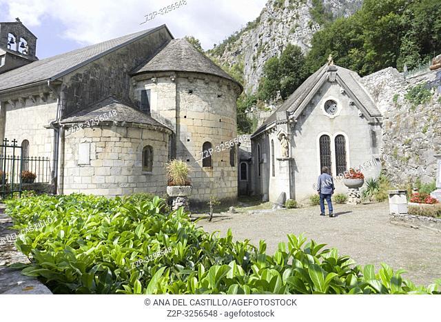 Romanesque church in Saint Beat village Midi Pyrenees France