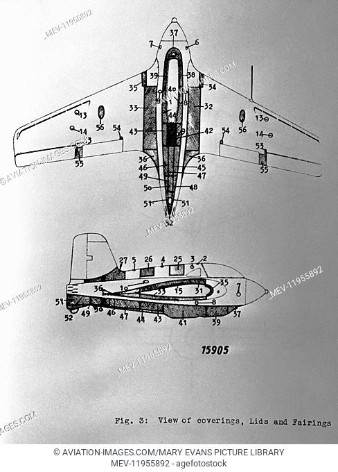 Luftwaffe Messerschmitt Me-163 Komet Section Line-Drawing Technical-Drawing Diagram of Coverings, Lids and Fairings