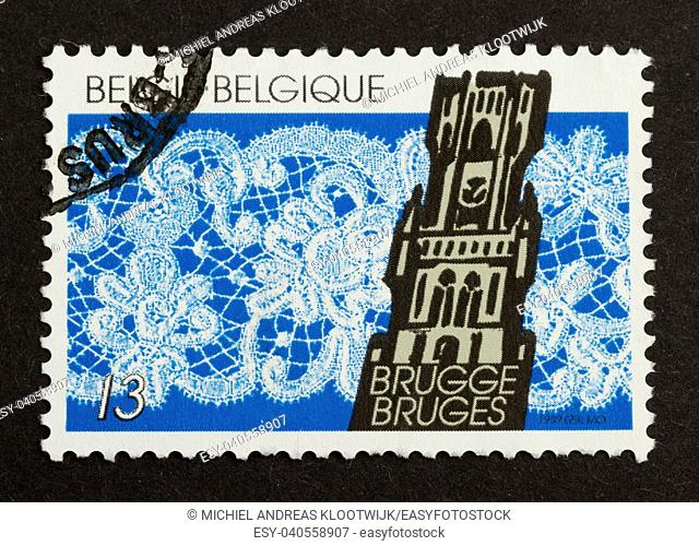 BELGIUM - CIRCA 1970: Stamp printed in Belgium shows a building in the city of Brugge, circa 1970