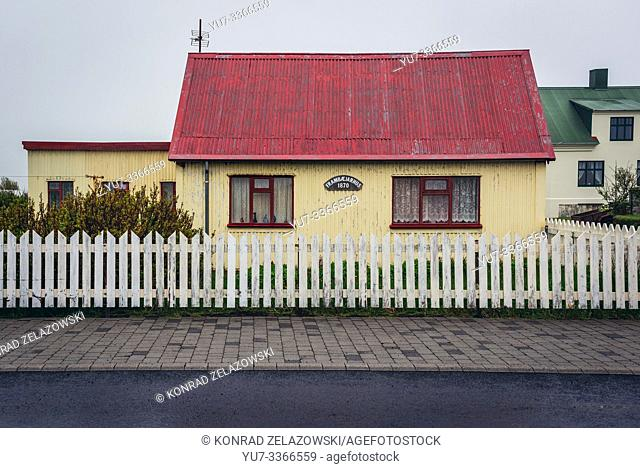 House in Eyrarbakki fishing village on the south coast of Iceland