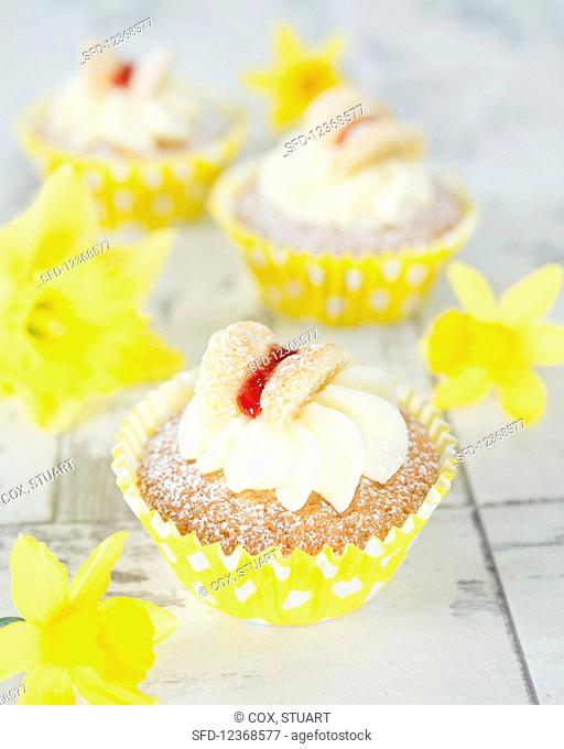 Spring cupcakes with butterfly decoration