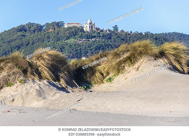 Sanctuary of Santa Luzia seen from Cabedelo Beach (Praia do Cabedelo) in Viana do Castelo city in Norte region of Portugal