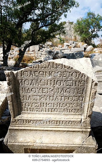 Columns Walkway of Termessos. The unexcavated Pisidian city. Ancient Greece. Asia Minor. Turkey