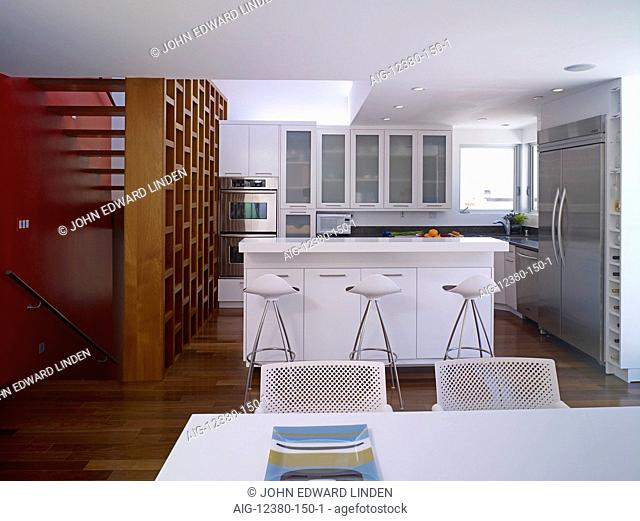 Modern open plan kitchen and dining area