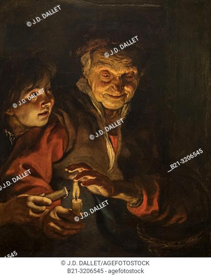"""Nedherlands, Den Haag, Mauritshuis Museum: """""""" Old Woman and boy with Candles""""""""(C.1616-1617) by Peter Paul Rubens"""