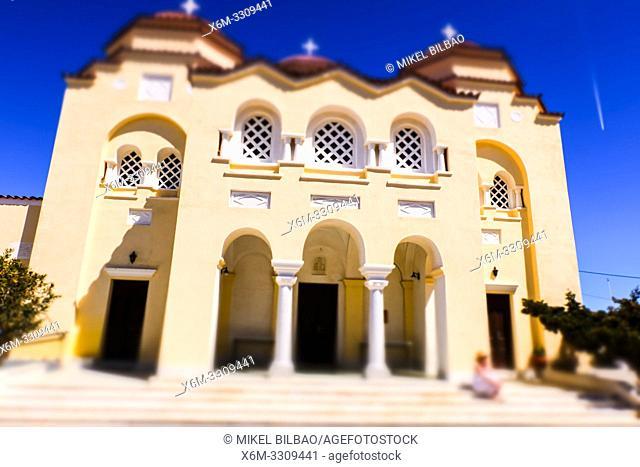 Agios Charalambos church. Exo Gonia village. Santorini island. Cyclades islands. Greece