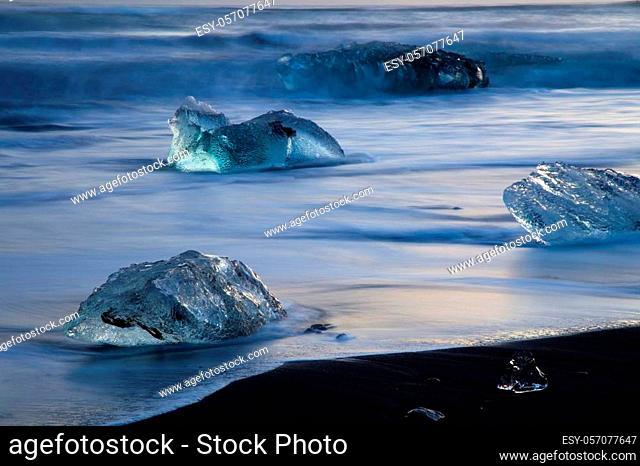 Icebergs on the Beach near Jokulsarlon Glacial Lagoon, Iceland