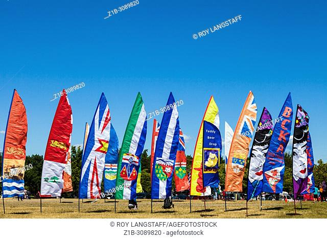 Colourful banners at the entrance of the 2018 Steveston Kite Festival