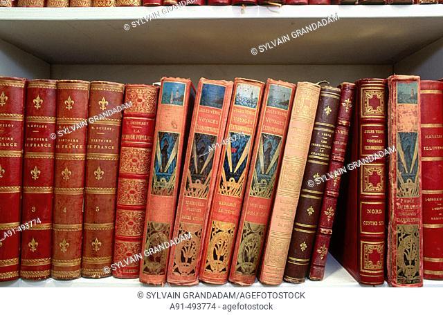 Original editions of Jules Verne's books, Nantes. Loire-Atlantique, France