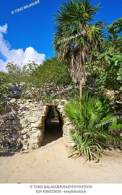 Tulum Mayan arch entrance corridor to ruins in Riviera Maya of Mexico