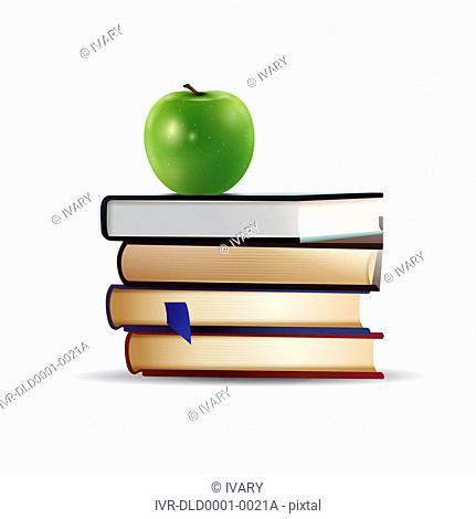 Illustration of green apple on a stack of book
