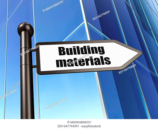 Building construction concept: sign Building Materials on Building background, 3D rendering