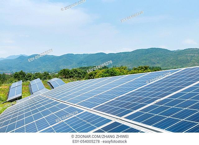 solar power panels closeup for renewable energy on the hillside