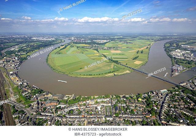 Aerial view, Rhine bridge between Krefeld-Uerdingen and Duisburg-Mündelheim, Rheinbogen, Rheindeich, flood protection, Ruhr district, North Rhine-Westphalia