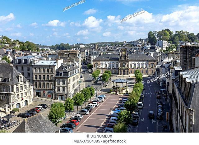 Europe, France, Brittany, Morlaix, view over the 'Place des Otages' to the town hall 'Mairie de Morlaix'