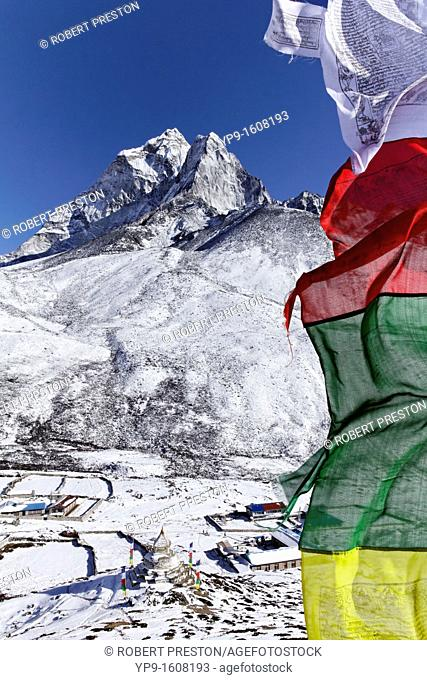 Prayer flags and mountains, Everest Region, Nepal