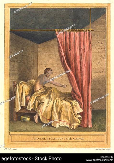 L'homme et la puce (The Man with Fleas), published 1756. Creator: Benoit-Louis Prevost