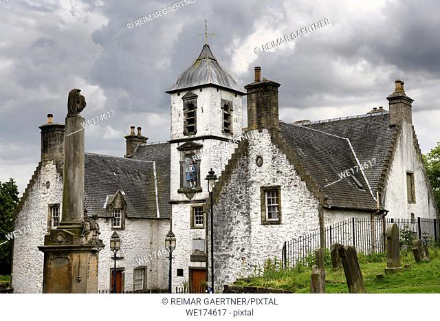 17th Century Burgh architecture of Cowanes Hospital with statue of John Cowane at Holy Rude Old Town cemetery on Castle Hill of Stirling Scotland