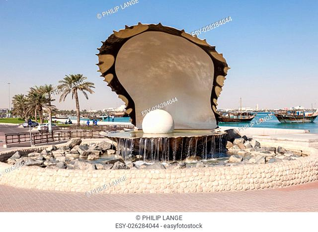 Pearl fountain at the corniche of Doha. November 18, 2015 in Doha, Qatar, Middle East