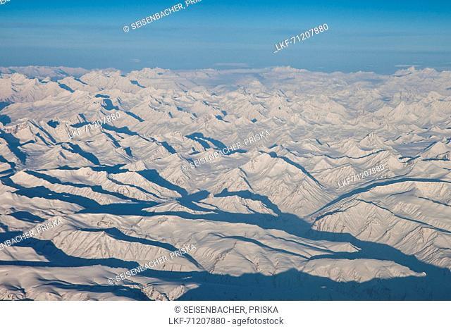 White Himalaya mountain range from above, India, Asia