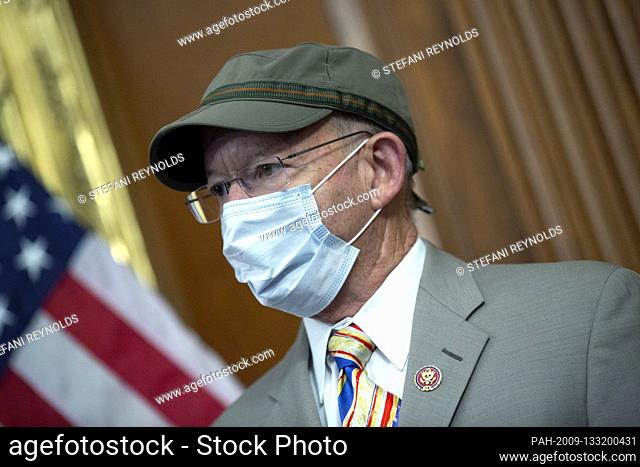United States Representative Peter DeFazio (Democrat of Oregon) listens during a news conference on the Moving Forward Act at the United States Capitol in...