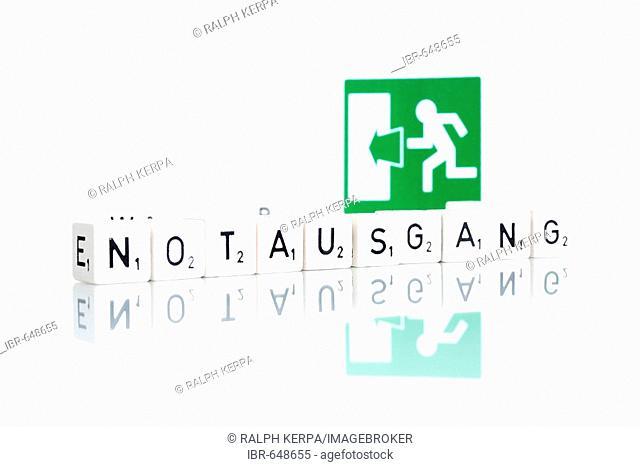 Sign: emergency exit (German: Notausgang)
