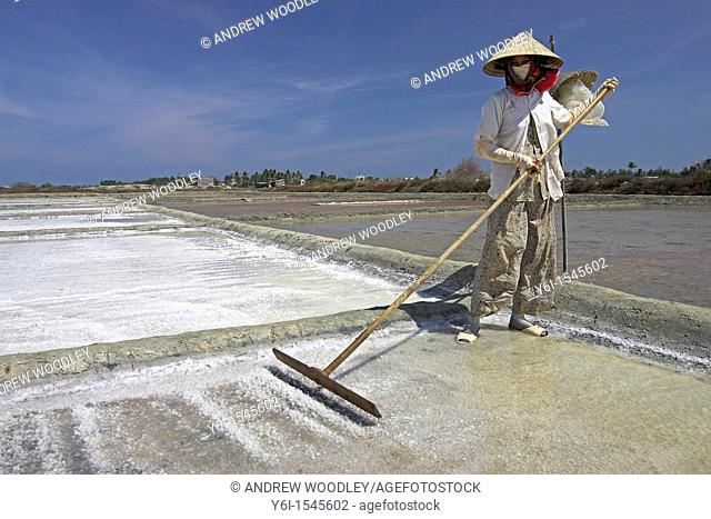 Woman in conical hat rakes salt loose from surface of salt pond Phan Thiet Vietnam