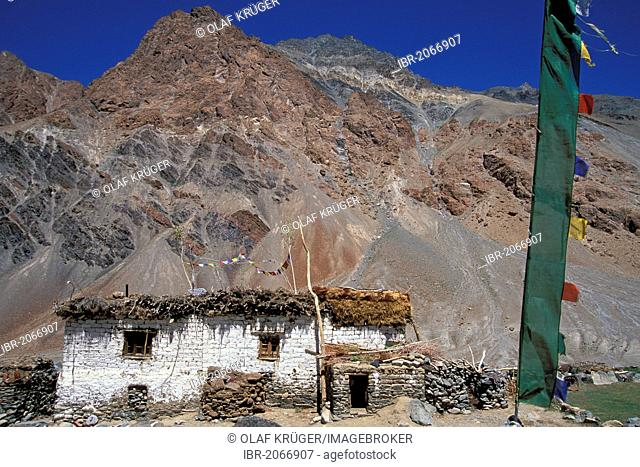 Traditional Tibetan house with prayer flags, Tetha, Zanskar, Ladakh, Jammu and Kashmir, North India, India, Himalayas, Asia