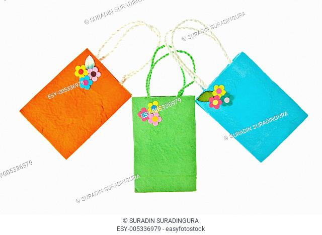 Colorful mulberry paper bag isolated on white background