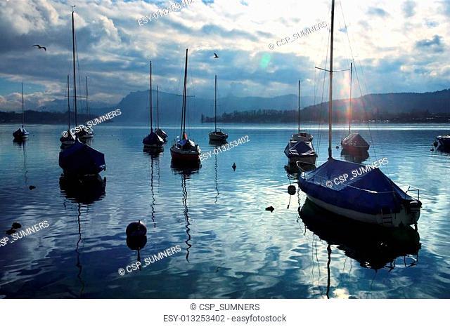 Resting sailboats at dusk