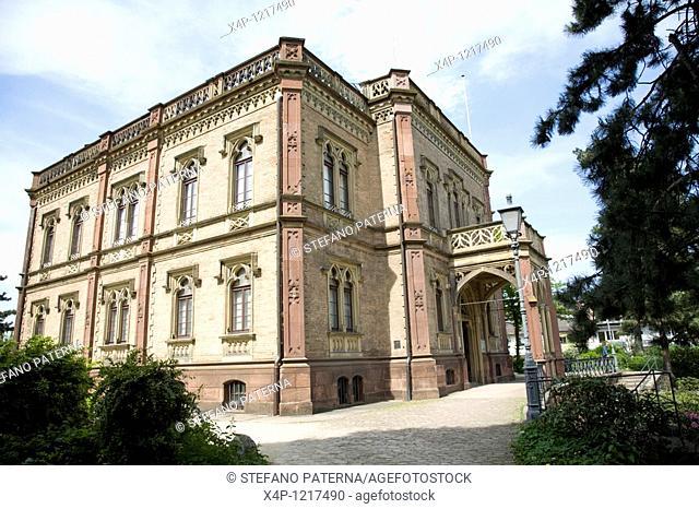In a little park is the neo-Gothic Colombischloessle, a villa housing the Museum fuer Ur- und Fruehgeschichte Pre Historic Museum, Freiburg, Germany