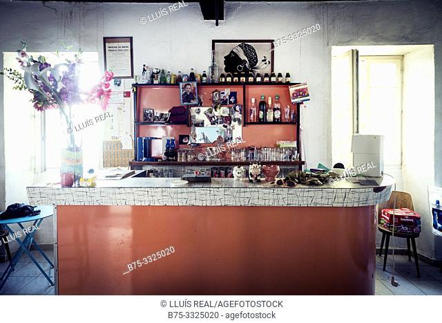 Interior of a village bar. Santo- Pietro-de Tenda, Corsica, France, Europe