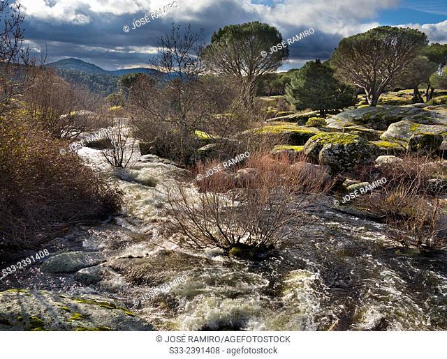 Becedas river in El Hoyo de Pinares. Avila. Castilla Leon. Spain. Europe