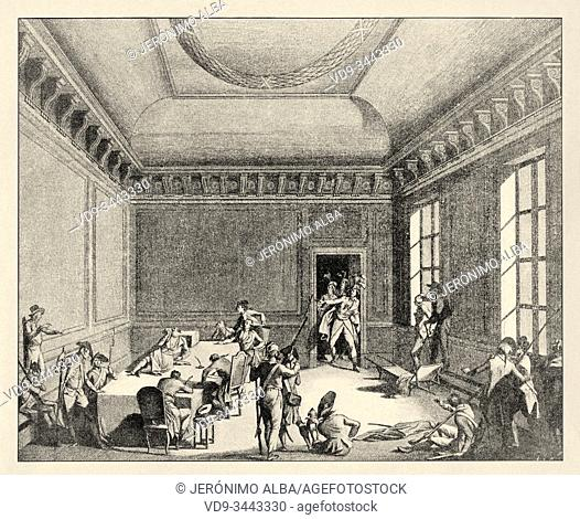 Robespierre lies injured in the public health committee on July 28, 1794. French Revolution 18th century. History of France