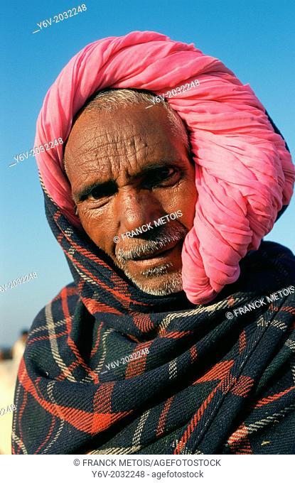 Hindu farmer wearing a turban typical of the Hadoti region Rajasthan state, India